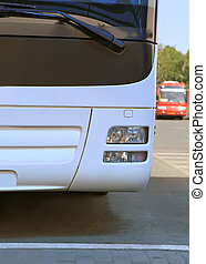bus on parking  - white bus on parking frontally close up
