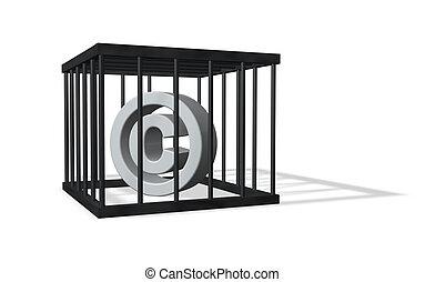 copyright sign in a cage on white background - 3d...