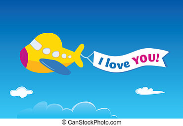 Yellow airplane - Vector airplane. Write your own text into...