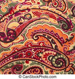 tradicional, paisley, Padrão, seda, fundo,