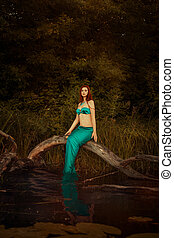 Girl mermaid in a swamp - Mermaid girl sitting on a tree in...