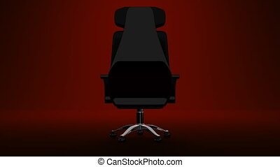 Spotlighted Business Chair On Red Background 3D render...