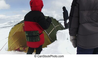 Climber Camping - High-altitude camp in a snow blizzard....