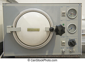 Autoclave sterilization machine in a clinic - Closeup detail...