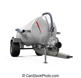 Vacuum Manure Spreader isolated on white background. 3D...