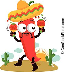 Mariachi chili pepper with maracas - Vector Illustration of...