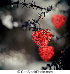 Hearts and barbed wire - Red hearts and barbed wire. Love...