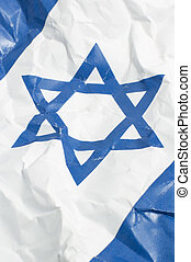 israel flag - wrinkled israel flag, detail vertical photo,...
