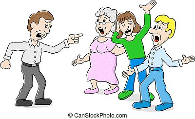 many people arguing with each other - vector illustration of...
