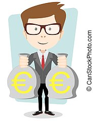 Businessman with bags full of euros