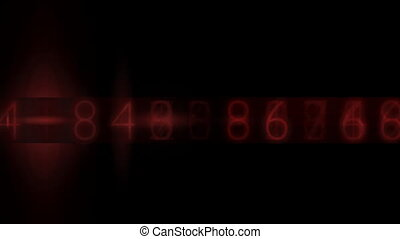 electronic numbers - Random electronic numbers flashing in a...