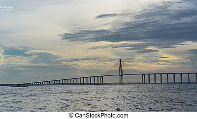 The Manaus Iranduba Bridge at sunset - Ponte Rio Negro, a...