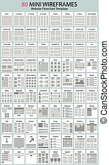 website workflow charts and wirefra - vector set of mini...