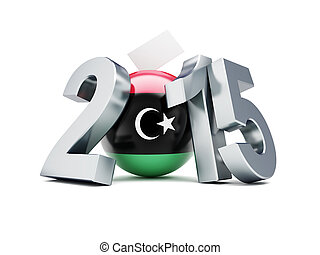 libyan constitutional referendum 2015 on a white background...