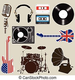 Free vector graphic jukebox music music player free image on - Set Of Music And Sound Objects Element Vector