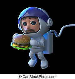 3d Astronaut eats a burger in space - 3d render of an...