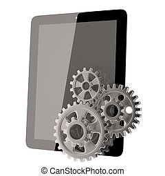 tablet pc and gears on white