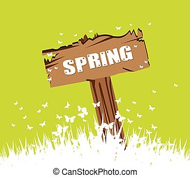 Spring concept with wood sign post