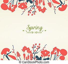 cartão postal, primavera, flor, Feliz