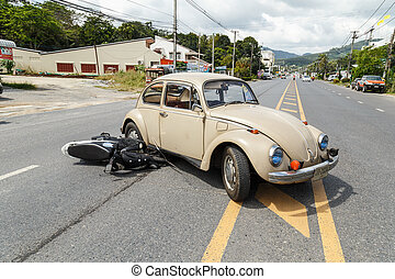 PHUKET, THAILAND - DECEMBER 17 : Car accident on the road...