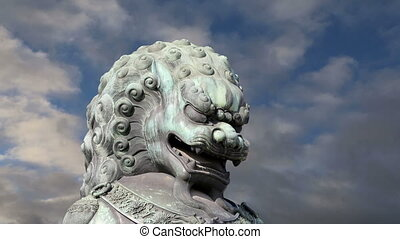 Bronze Guardian Lion Statue,Beijing - Bronze Guardian Lion...