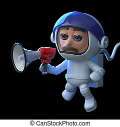 3d Astronaut using a megaphone in space - 3d render of an...