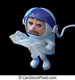 3d Astronaut checks the map - 3d render of an astronaut...