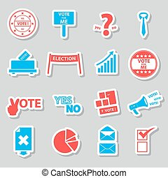 election and vote color stickers