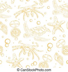 Seamless pattern with nautical elements like turtles, crab,...