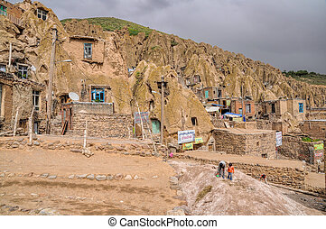 Kandovan - Scenic view of cone shaped dwellings in Kandovan...