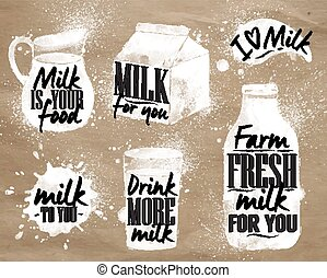Milk symbolic drawing kraft - Milk symbolic drawing milk...