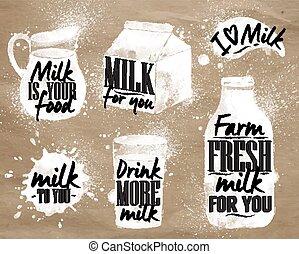 Milk symbolic drawing kraft - Milk symbolic drawing milk...