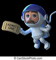 3d Astronaut hands in his ticket. - 3d render of an...