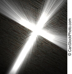 Christian cross of light - 3d fine image, Christian cross of...