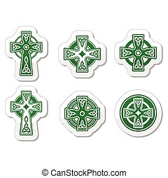 Irish, Scottish Celtic cross on whi - Celtic crosses white...