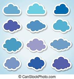 Conjunto, de, 16, papel, colorido, nubes,