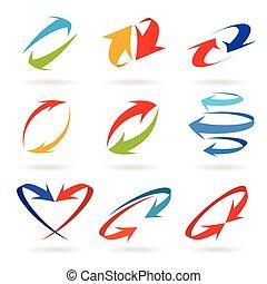Colorful 3d arrows set, vector illustration