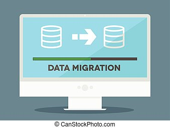 pc Data Migration - minimalistic illustration of a monitor...