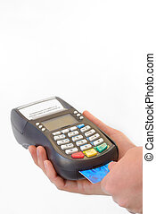 Male hand enters PIN code on payment terminal isolated on...
