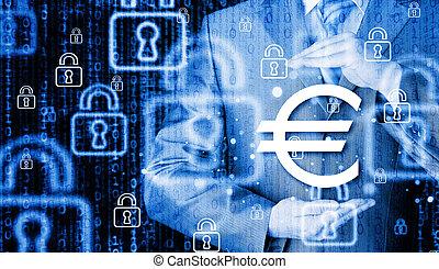 homem negócios, Símbolo, protegendo,  Euro