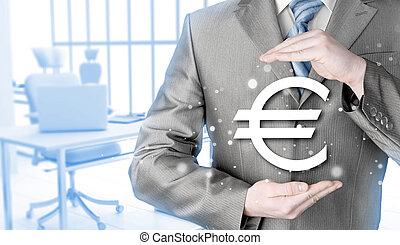 homem negócios, protegendo, Euro, Símbolo,