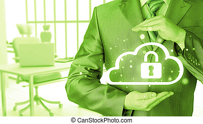 Protect cloud information data concept Security and safety...