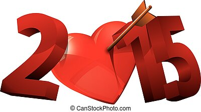 Year of Love. Heart typography. 201