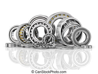 Set of steel ball bearings in closeup