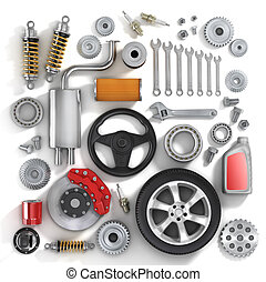 Set of parts of car