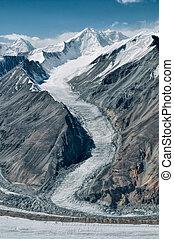 Glacier in Tajikistan - Scenic glacier in Pamir mountains in...