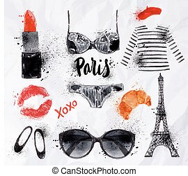 Set Paris watercolor - Set Paris with various symbols of...