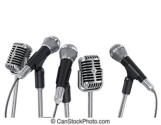 Conference meeting microphones prepared for talker. Isolated...