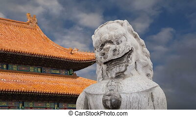Stone Guardian Lion Statue, Beijing - Stone Guardian Lion...