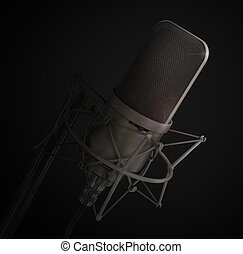 Microphone isolated in the studio Please speak